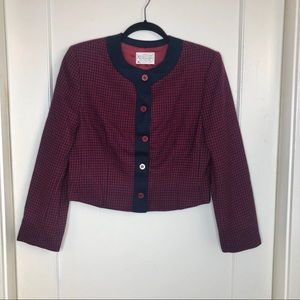 Pendleton Miss Crop houndstooth Jacket red navy 8